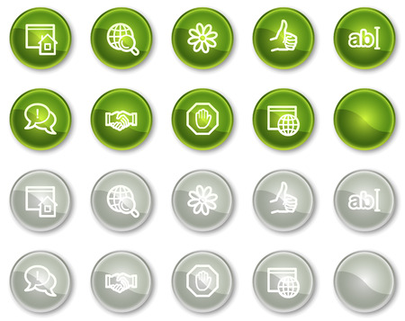 Internet communication web icons, green and grey circle buttons series Vector