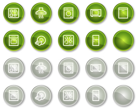 Home appliances web icons, green and grey circle buttons series Stock Vector - 6046967