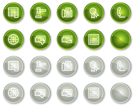 Finance web icons set 2, green and grey circle buttons series Stock Vector - 6046975
