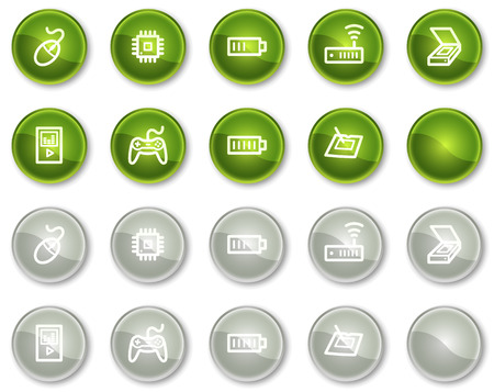 Electronics web icons set 2, green and grey circle buttons series Stock Vector - 6046970
