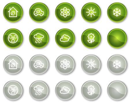 Ecology web icons set 2, green and grey circle buttons series Stock Vector - 6046976