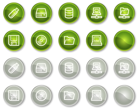 fdd: Drives and storage web icons, green and grey circle buttons series