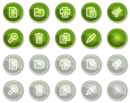 Document web icons set 1, green and grey circle buttons series Vector