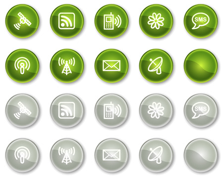 Communication web icons, green and grey circle buttons series Stock Vector - 6046974