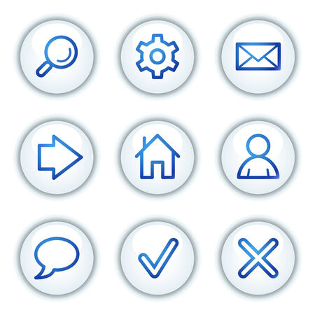 Basic web icons, white circle buttons series Stock Vector - 6046856