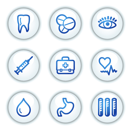 Medicine web icons set 1, white circle buttons series Stock Vector - 6046904