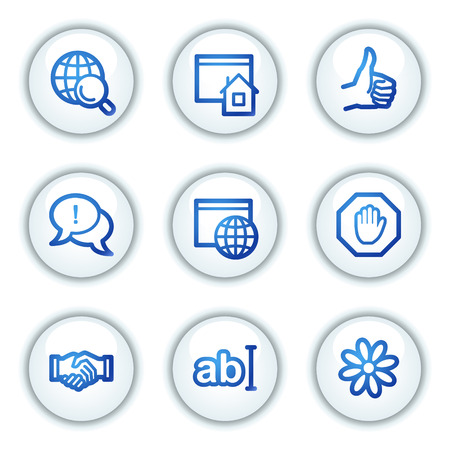 icq: Internet communication web icons, white circle buttons series