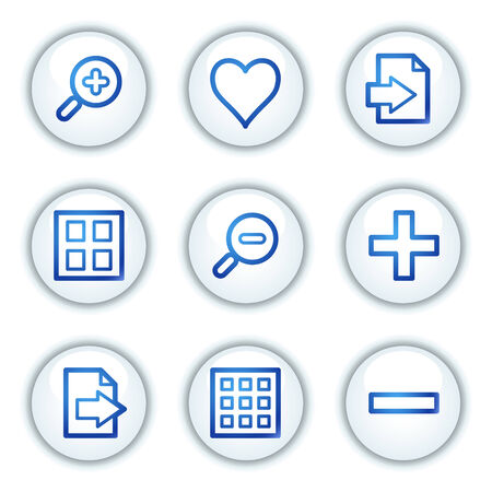 Image viever web icons set 1, white circle buttons series Stock Vector - 6046860