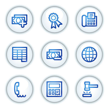 Finance web icons set 2, white circle buttons series Vector