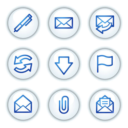 webmail: E-mail web icons, white circle buttons series