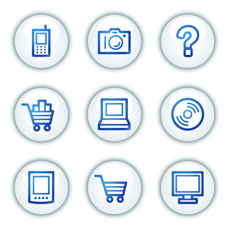 Electronics web icons set 1, white circle buttons series Vector