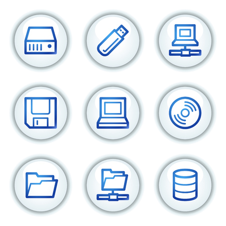 fdd: Drives and storage web icons, white circle buttons series Illustration