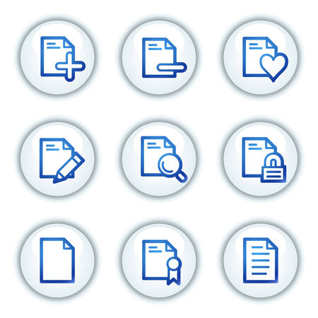Document web icons set 2, white circle buttons series Vector