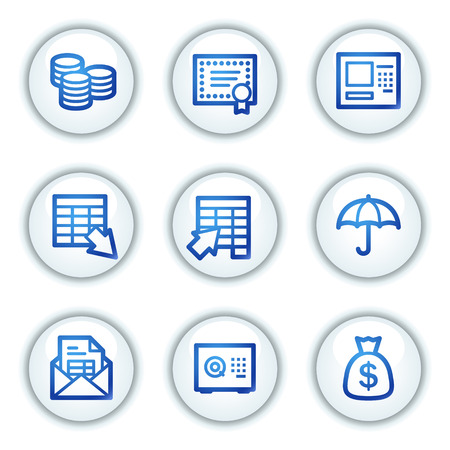 Banking web icons, white circle buttons series Vector