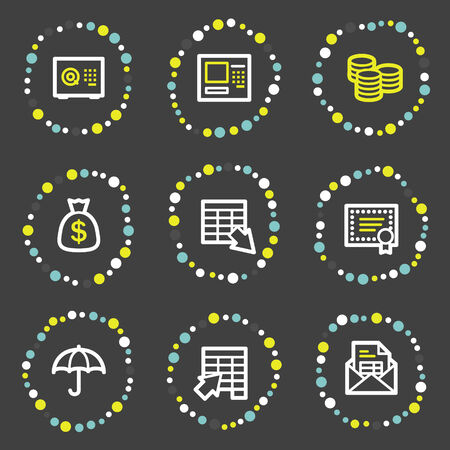 Banking web icons, colour dots series Vector