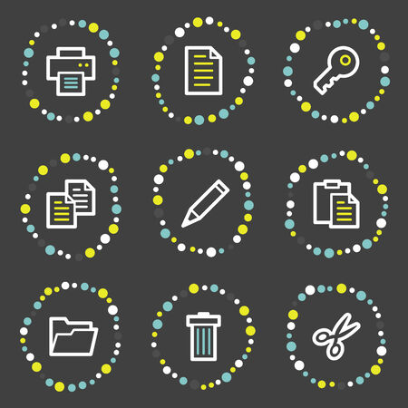 Document web icons set 1, colour dots series Stock Vector - 6121916