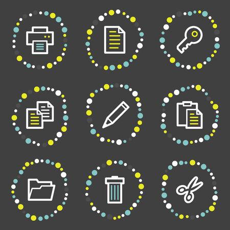 Document web icons set 1, colour dots series Stock Vector - 6121916