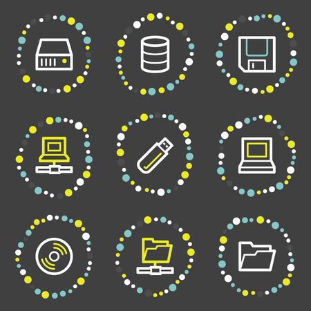 fdd: Drives and storage web icons, colour dots series Illustration