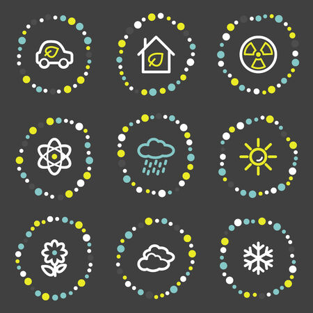 Ecology web icons set 2, colour dots series Stock Vector - 6121934