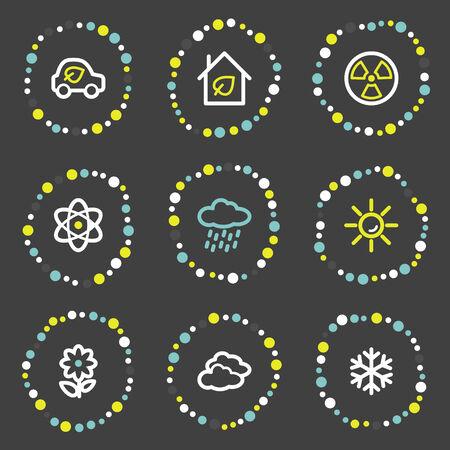 Ecology web icons set 2, colour dots series Stock Vector - 6121934
