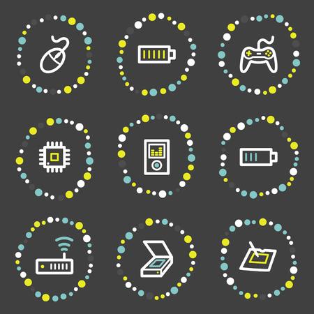 Electronics web icons set 2, colour dots series Stock Vector - 6121923