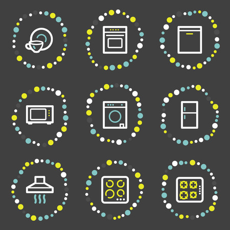 Home appliances web icons, colour dots series Stock Vector - 6121922