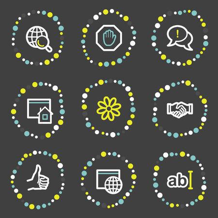 Internet communication web icons, colour dots series Vector