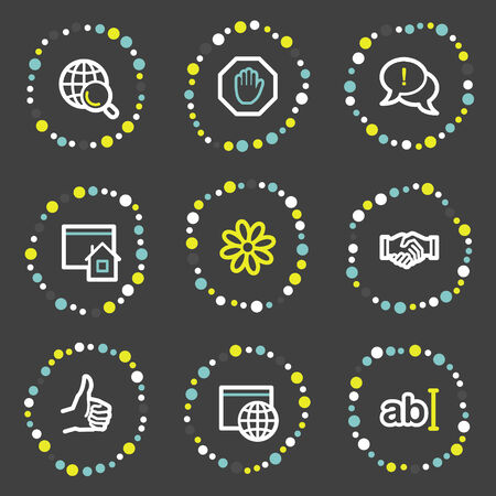 icq: Internet communication web icons, colour dots series