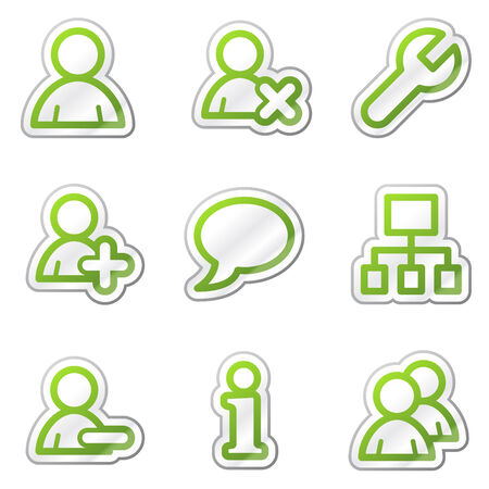 feedback sticker: Users web icons, green contour sticker series