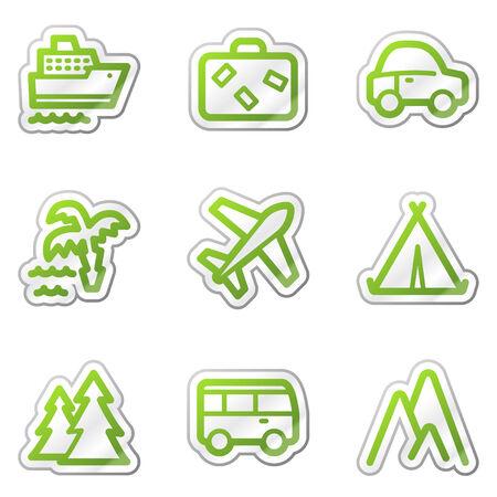 steamship: Travel web icons, groene contour sticker serie