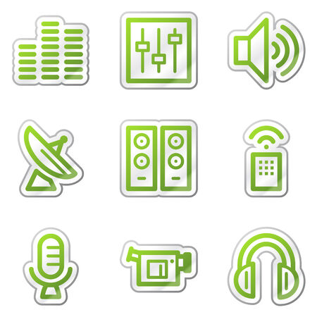 Media web icons, green contour sticker series Stock Vector - 6121882