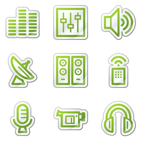Media web icons, green contour sticker series Stock Vector - 6121882