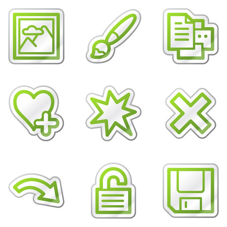 preview: Image viewer web icons set 2, green contour sticker series