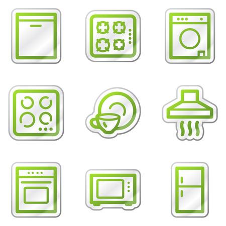 Home appliances web icons, green contour sticker series Stock Vector - 6121805