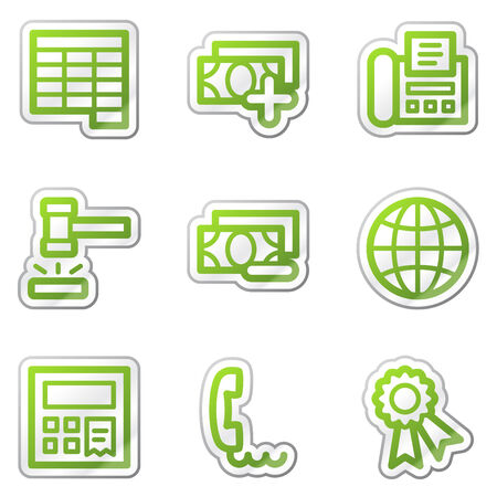 Finance web icons set 2, green contour sticker series Stock Vector - 6121879