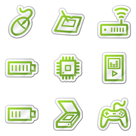 Electronics web icons set 2, green contour sticker series Stock Vector - 6121883