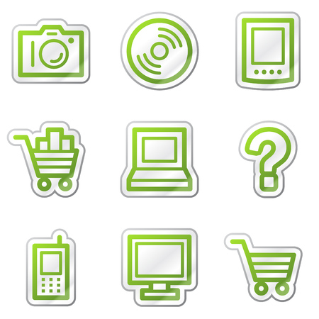 Electronics web icons, green contour sticker series Stock Vector - 6121794