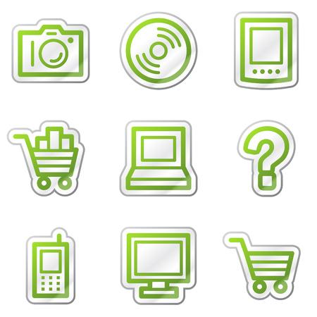 Electronics web icons, green contour sticker series Vector