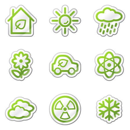 Ecology web icons set 2, green contour sticker series Stock Vector - 6121887
