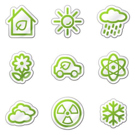 Ecology web icons set 2, green contour sticker series Stock Vector - 6121887