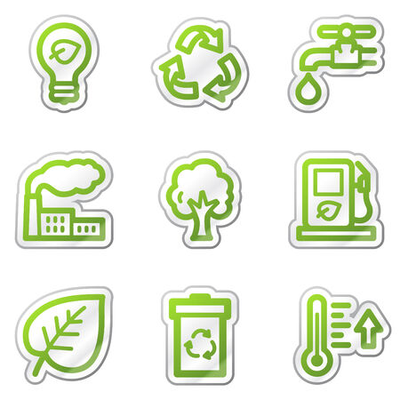 Ecology web icons, green contour sticker series Vector