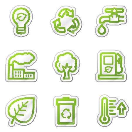 Ecology web icons, green contour sticker series