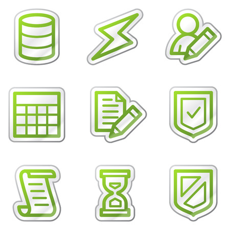 Database web icons, green contour sticker series Vector