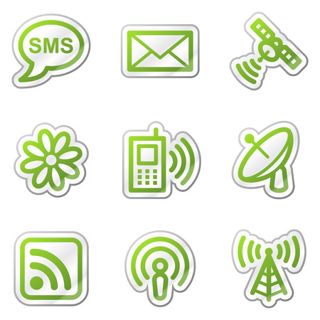 Communication web icons, green contour sticker series Stock Vector - 6121881