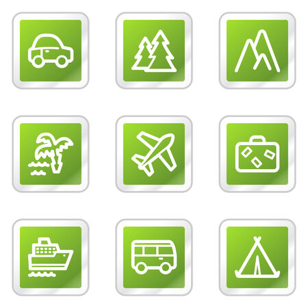 air liner: Travel web icons, green square sticker series Illustration