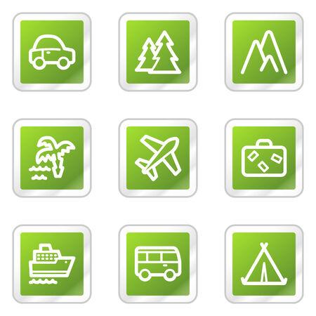steamship: Web icons, groene vierkant sticker reeks reizen