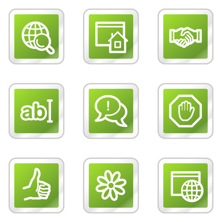 Internet web icons, green square sticker series Stock Vector - 6169921