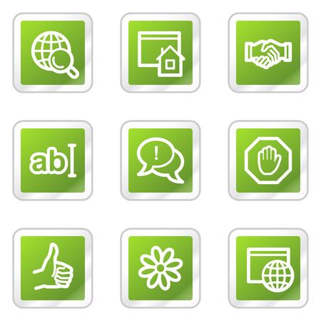 icq: Internet web icons, green square sticker series