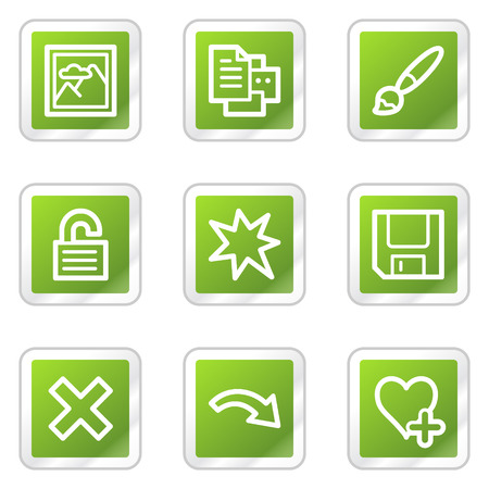 Image viewer web icons set 2, green square sticker series Vector