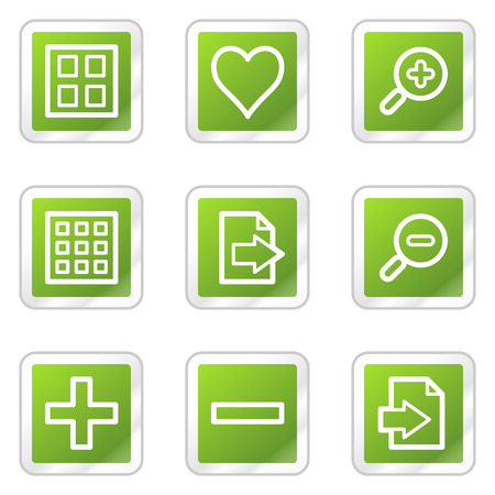 thumbnails: Image viewer web icons, green square sticker series Illustration